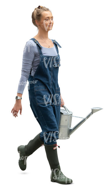 cut out woman walking and carrying a large watering can