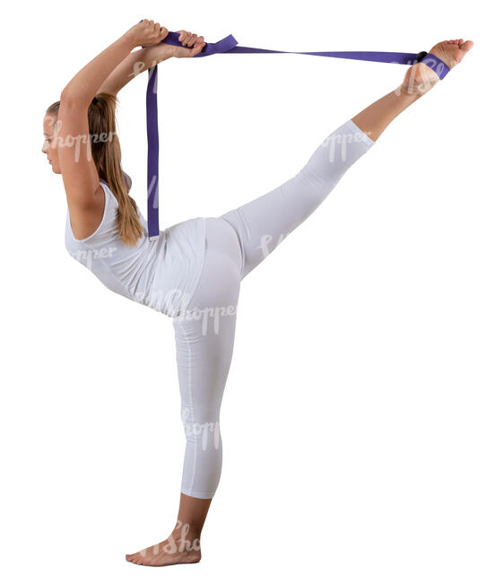 cut out woman doing yoga exercises with a stretch strap