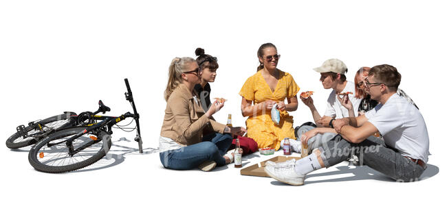 cut out group of young people having a picnic