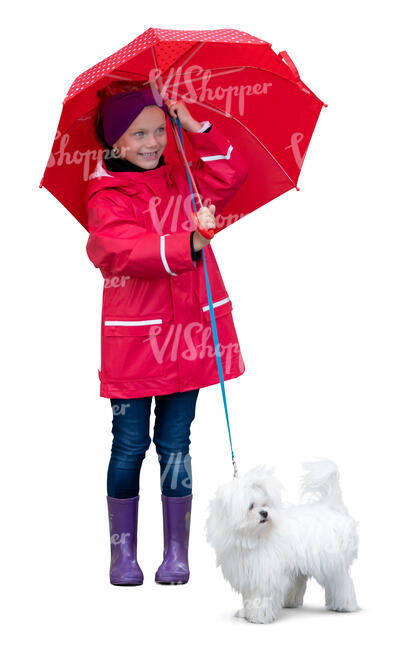 cut out little girl with a red umbrella and a small white dog standing and smiling