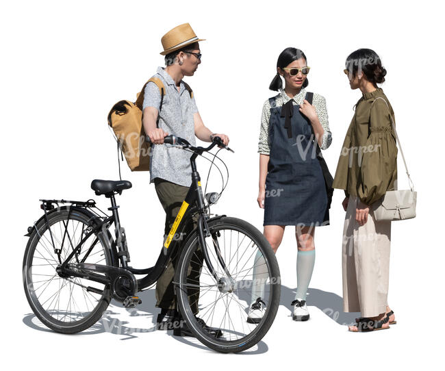 cut out man with a bicycle standing and talking to two women