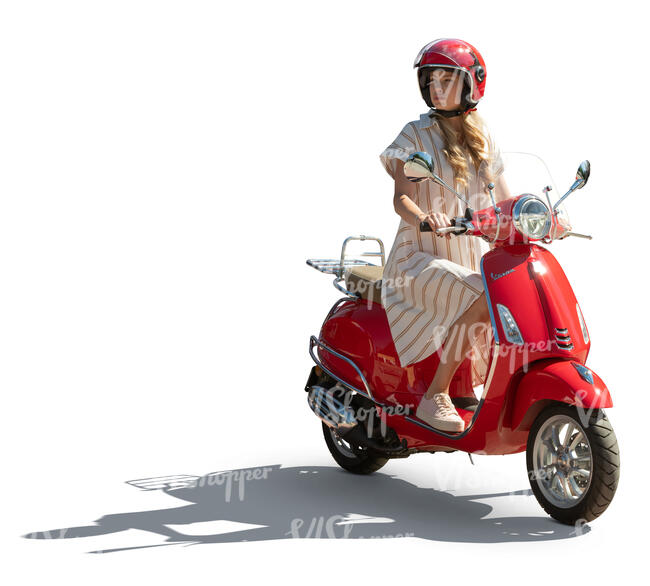 cut out sidelit woman riding a red vespa scooter