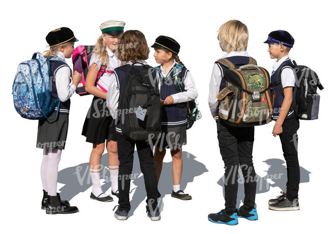 cut out group of pupils in school uniform standing and talking