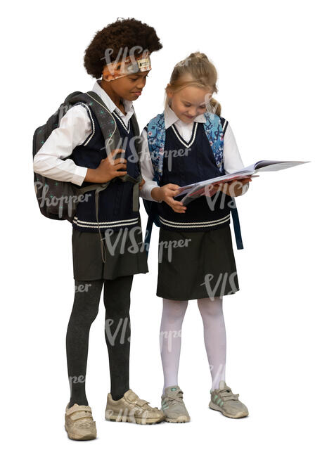 two cut out schoolgirls standing and reading a book