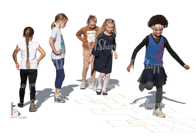 cut out five girls playing hopscotch