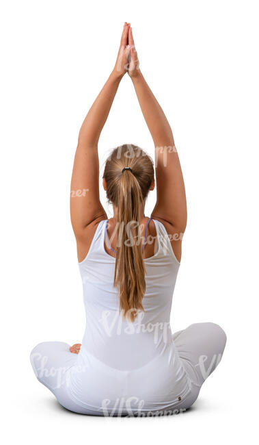 cut out woman sitting in a yoga pose