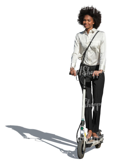 cut out businesswoman riding an electric scooter