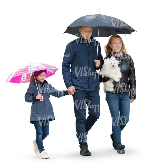 cut out family with a kid and a dog walking in the rain