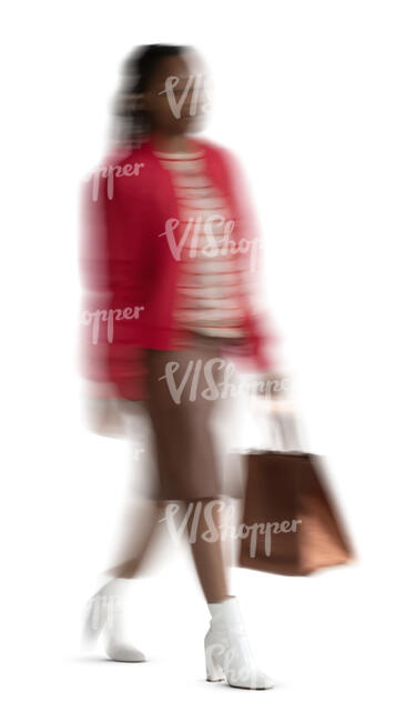 cut out motion blur image of a woman walking