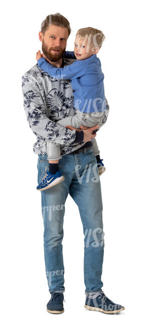 cut out man standing and holding his son in his arms
