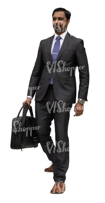 cut out businessman walking down the stairs