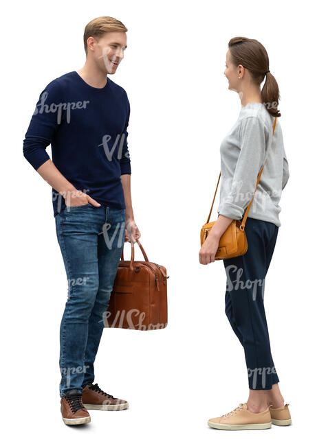 cut out man and woman standing and talking