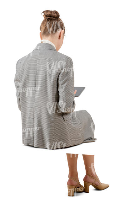 cut out businesswoman working with a with a tablet sitting