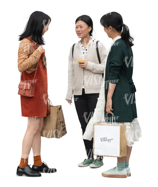 three cut out young asian women standing and talking