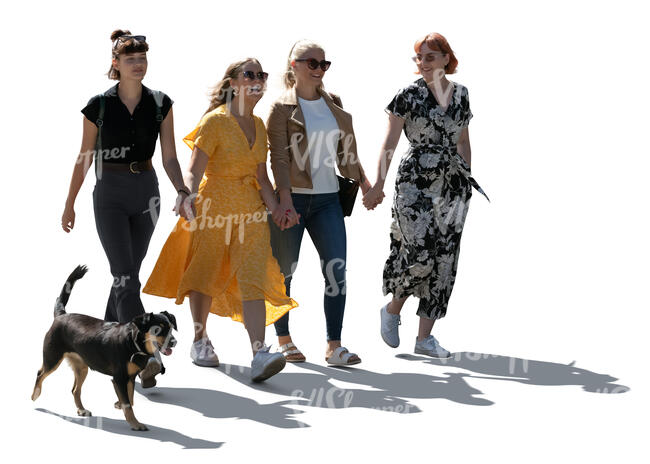 cut out four young women walking happily hand in hand