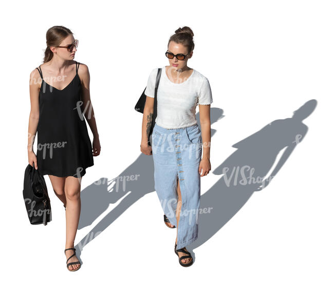 two cut out young women walking seen from above