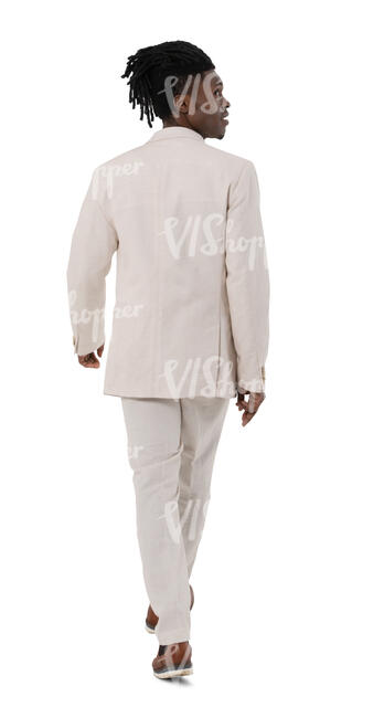 cut out black man in a white suit walking