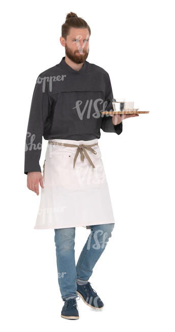 cut out waiter carrying a tray walking