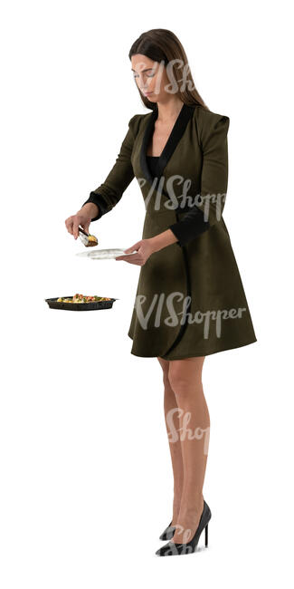 cut out woman standing at a buffet table and taking herself some food