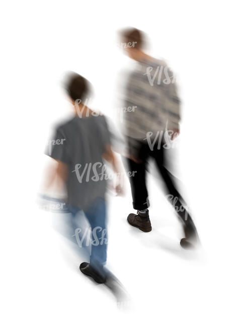 cut out motion blur image of two men walking seen from above