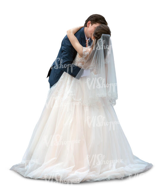 cut out bride and groom kissing