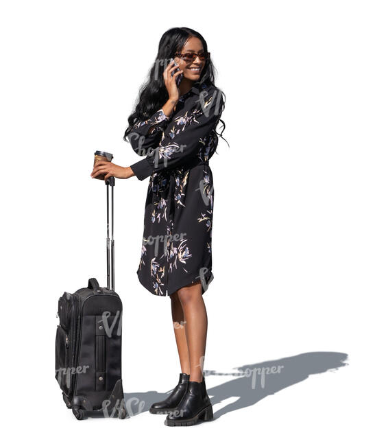 cut out smiling black woman with a suitcase standing