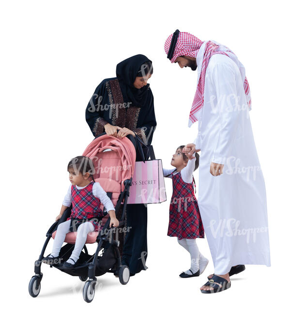 cut out arab family with twin girls standing