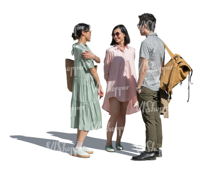 cut out group of young asian people standing and talking