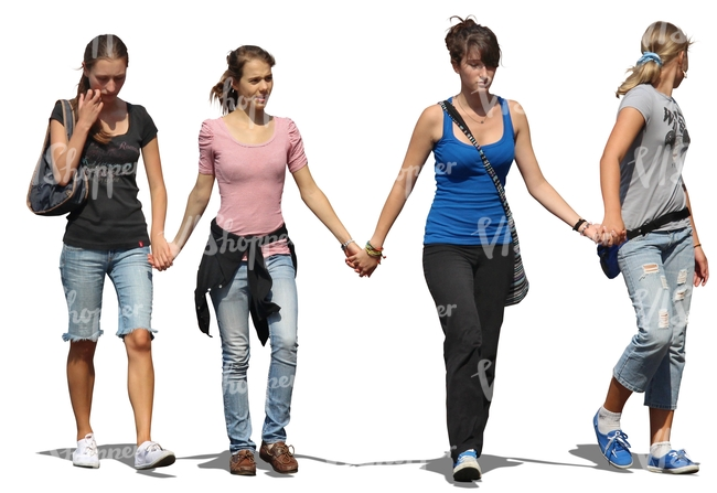 four girls walking hand in hand