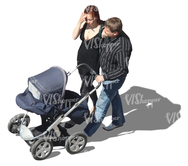 couple walking a baby