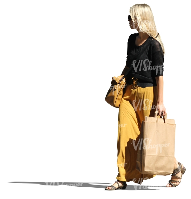 woman with long blond hair shopping