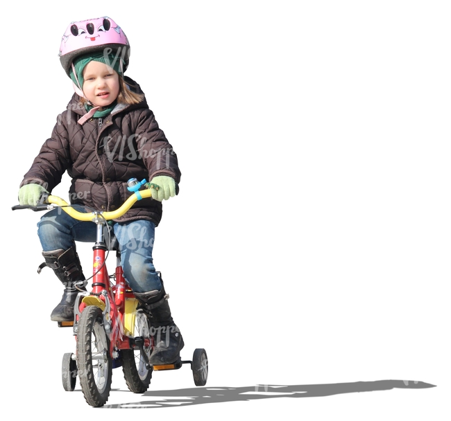 girl with a helmet riding a bike