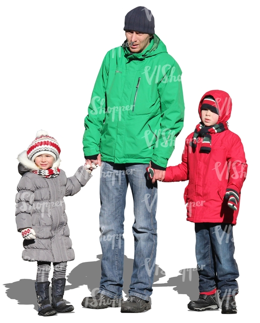 man standing with his two children