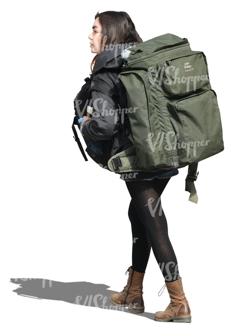 woman with a huge backpack walking