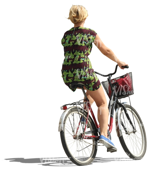 blond woman riding a bike cut out people vishopper