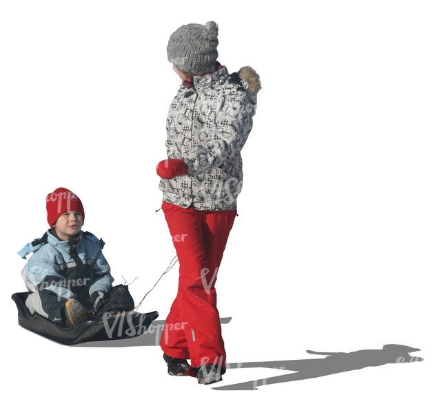 woman pulling a sledge with her son
