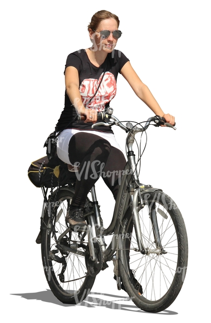 woman with sunglasses riding a bike