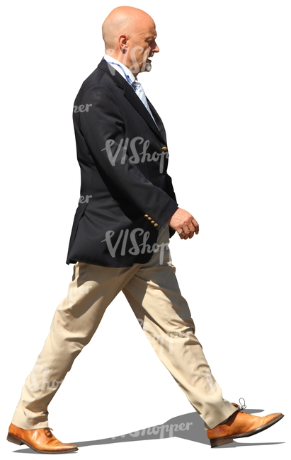 cut out elderly businessman walking