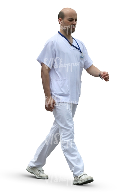cut out male doctor walking