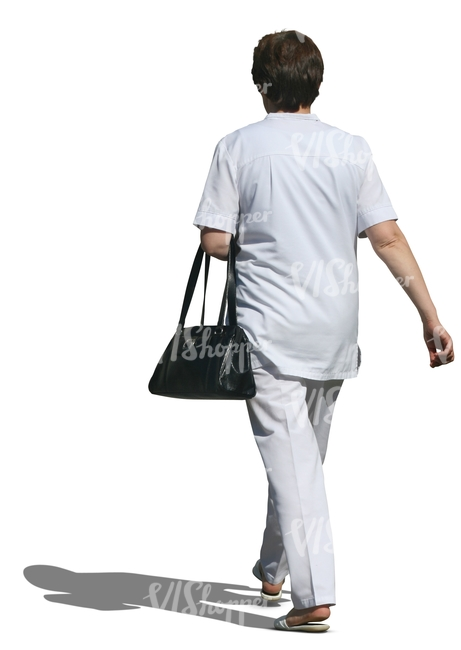 cut out medical worker with a bag walking