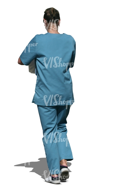 cut out medical worker walking
