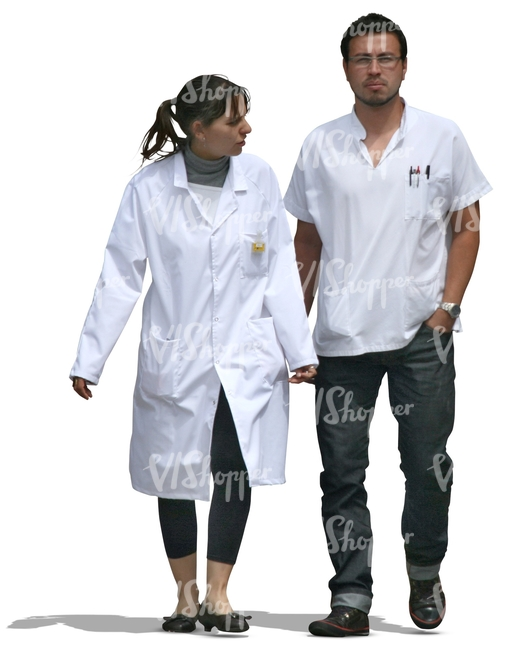 two cut out medical workers walking