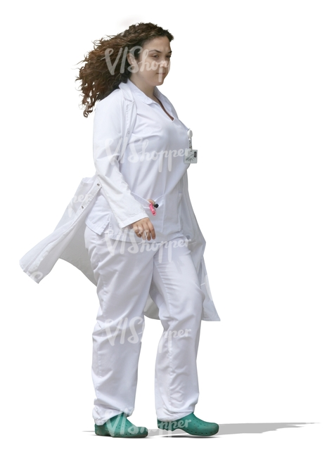 cut out female medical worker walking