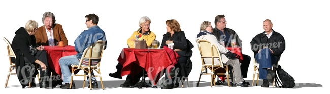 cut out group of people sitting in a street cafe
