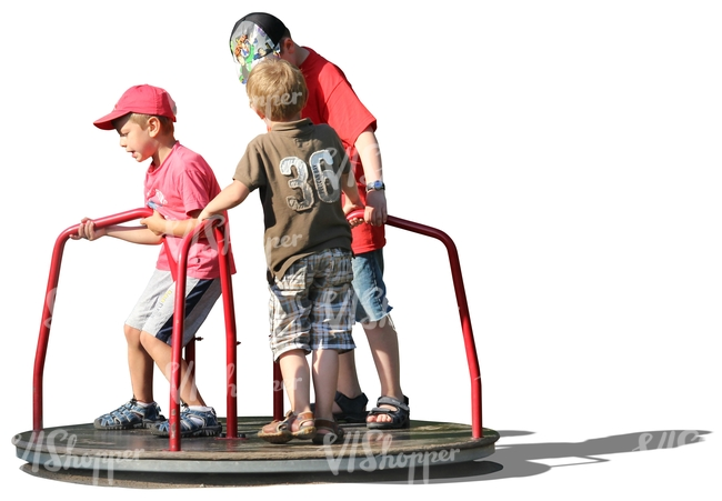cut out three boys playing on the playground