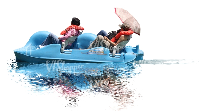 man and woman riding on a pedalo