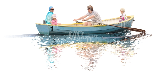cut out family riding in row boat