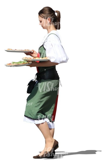 cut out waitress carrying plates
