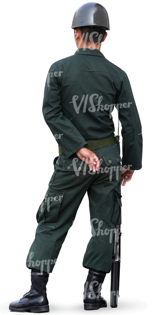 cut out asian soldier standing