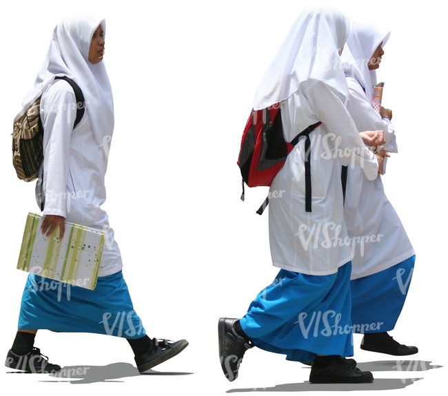cut out muslim schoolgirls walking